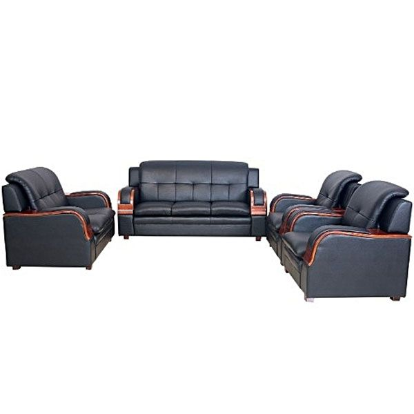 7 Seater Black Leather Sofa (SA340) - elifemate