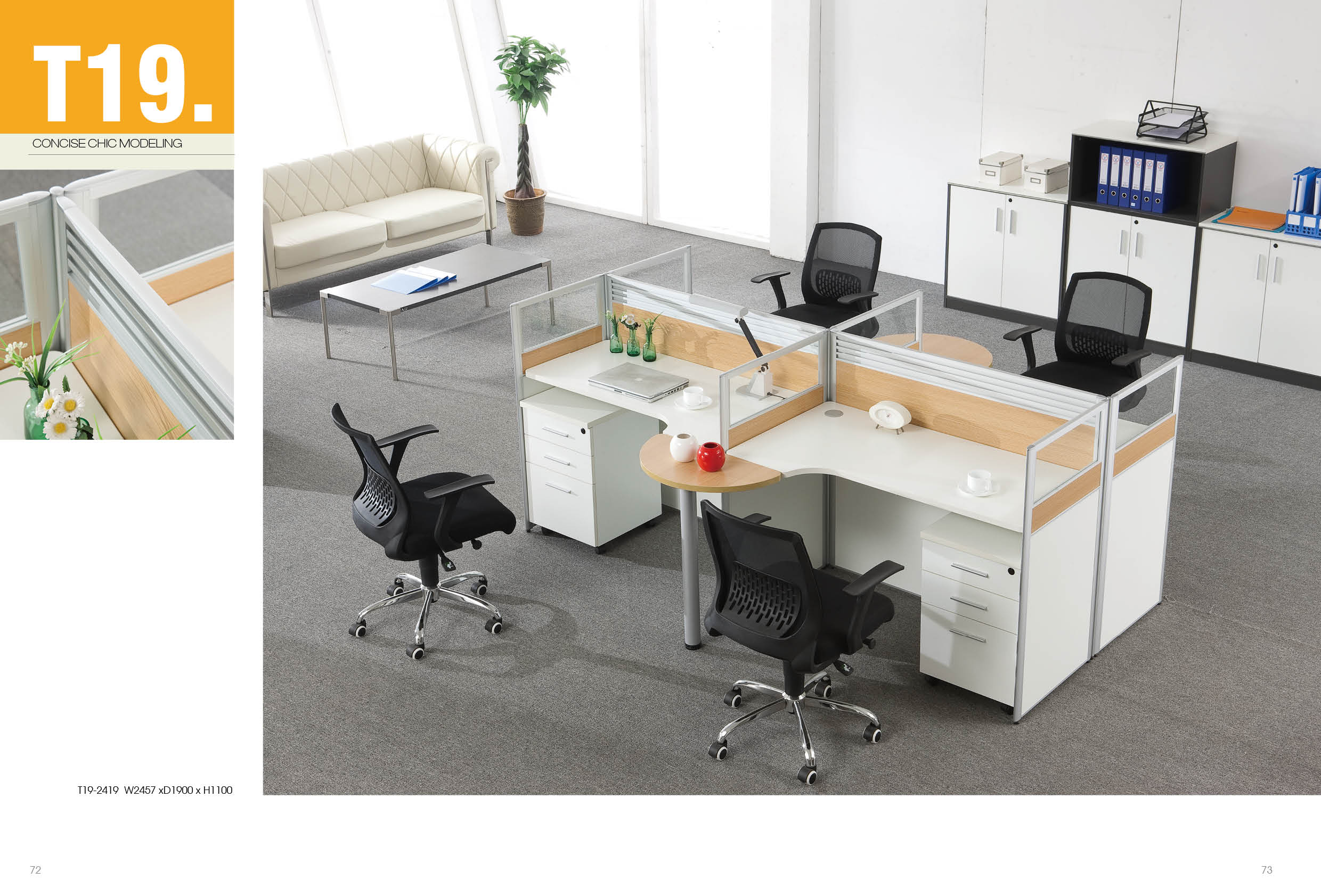White And Brown 36 Seater Workstation With Steel Legs Table Extension (BG3601)