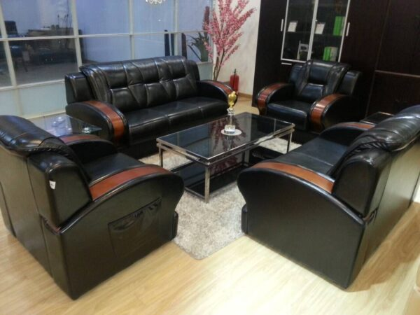 7 Seater Black Leather Sofa With Wooden Handle Elifemate