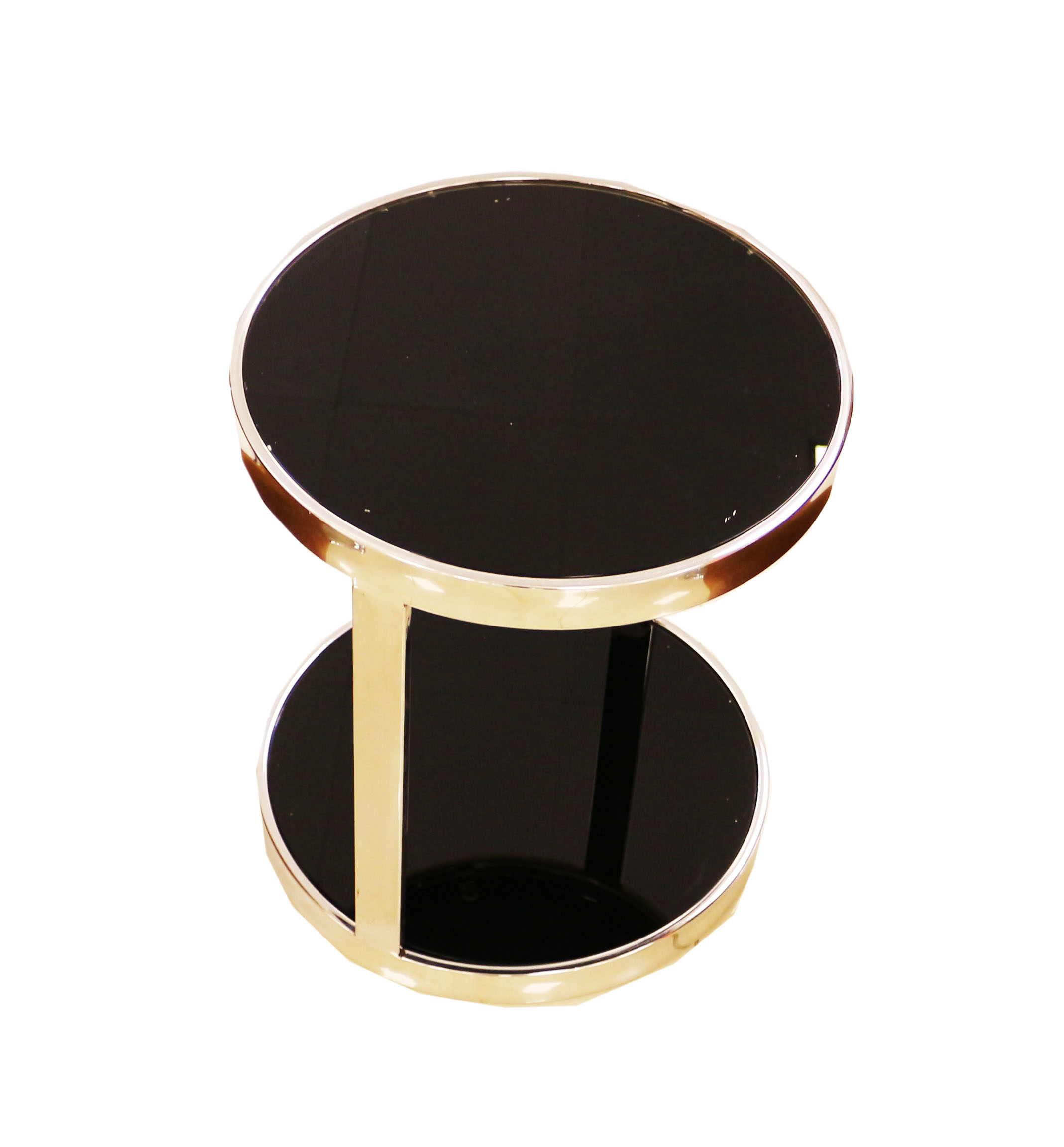 Round Glass Top End Table Living Room Side Table Coffee Table, Black (BM432)